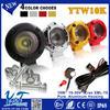 Y&T 10w 2pcs led spotlights, 2 inch motorcycle led headlight motorbike lighting wiring harness kit YTW10K