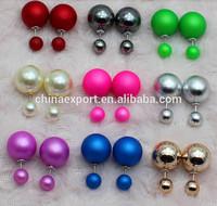 2014 Double Side Shining Pearl Stud Earrings Big Pearl Earrings For Women