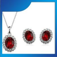 Italina bridal ruby wedding jewelry red diamond jewelry set 220751