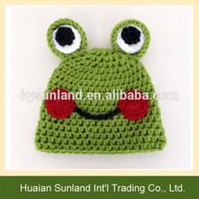 W-907 handmade cheap cute crochet custom children frog knitted hat
