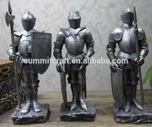 Polyresin antique silver Medieval armor Warrio knight statue