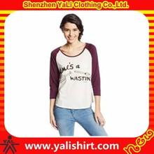 Custom brand quality contrast color o-neck printed cotton fitness 3/4 raglan t-shirt for women