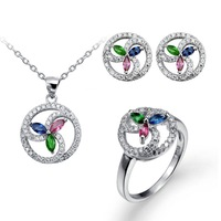 Three colors stone windmill design 925 silver pendant ring and earring set