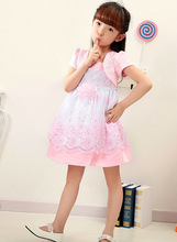 Kids short sleeve princess Dresses Beautiful Computer Embroidery wedding Dresses 2015 kids Party Dresses for Girls
