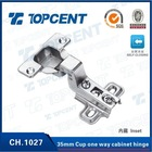 One way self closing nickel finish 35mm cup inset mepla cabinet hinge