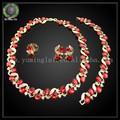 Venta al por mayor de moda de la joyería africana, 18k joyas de oro engastado con diamantes de imitación de color rojo
