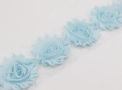 Aqua frayed chiffon rosettes flower trim,shabby chic flower applique for hair Accessories