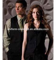 100% polyester V-neckline hotel uniform single breasted uniform vest slim fit workwear for women