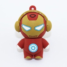 Wholsale Cool Pen drive Rubber Iron Man Tony Stark with a Headphone usb flash drive