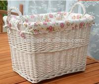 wholesale natural white wicker dirty clothes storage basket toys storage basket