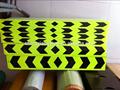pulgadas 2 35 x pulgadas amarillo con la flecha negro de impresión de la guía de reflexión signos