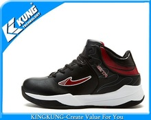 Black upper with red logo basketball shoes for man