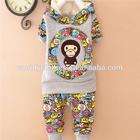 new spring korean style children set,boys autumn/winter thicken set ,boys cartoon monkey two--piece set Ag065
