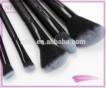 New design 2015 wood handle high quality make up brush 5pcs nylon makeup brush faded hair cosmetic brush makeup set