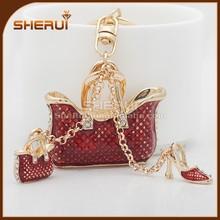 High quality Zinc alloy Gold Metal Crystal rhinestone Bag keychain and high heel key chain