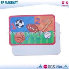 Various sports balls soccer basketball designed 3D PP lenticular placemat table dish mat
