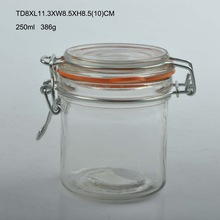 250ml round airtight clip top glass storage jar with lid