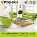novo estilo de moldura de madeira e pés em aço inoxidável couro sofás do escritório