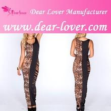 Leopard & Black Razor Cutout Sides Sexy Maxi Dress