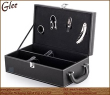 Black PU Leather Wine Carrier With Handle