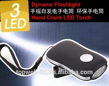 3 led crank promotion led dynamo flashlight