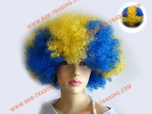 China alibaba best sale crazy football fans wig curly wigs for african american