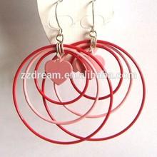 Red and pink earring iron heart dangle earrings smart open circle earring jewelry