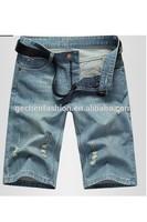2015 Fashion Korean Style Vintage Ripped Cotton Short Denim Jeans For Men