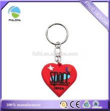 custom island logo Ibiza souvenir keychain soft pvc heart shaped red rubber