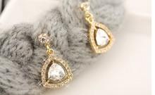 Fashion korean nice zircon golden earring 2015 new trend luxury earring