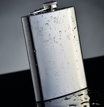 6oz Stainless steel leather hip flask with heat transfer