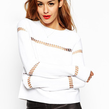 The new spring/summer 2015 fashion hollow out long sleeve T-shirt back zipper leisure coat