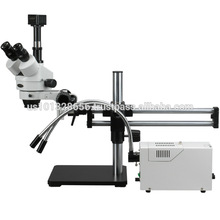 AmScope Supplies 3.5X-180X Ball Bearing Stereo Microscope w/ Fiber Optic Y- Lights + 9MP Camera