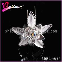 U shape flower hair pin low price wholesale jewelry wedding hair forks (SDML-0141)
