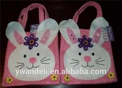 Set 2 Pink Easter Bunny Decorated Tote Bag & Felt Candy Bag & & Gift Bag