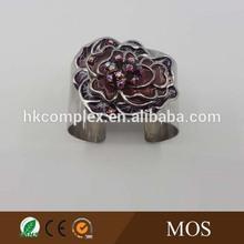 Epoxy and crystal rose flower brass fashion half cuff fashion bangles