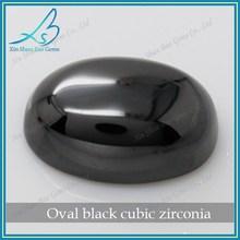 Wuzhou factory direct sale oval black loose cz cabochon gemstone