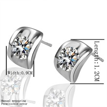 Hot Sale Elegant AAA+CZ Diamond Stud Earrings 18K Gold/Platinum Plated Crystal Fashion Party/Wedding Jewelry For Women