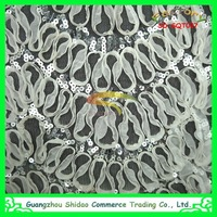 Wholesale newest lace product export supply new style high quality white chiffon flower with sequin lace fabric
