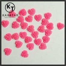 Loose pink heart shape resin rhinestones bead for shirt