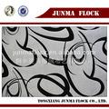 Rayé noir et blanc motif chine. sellerie. floqué de velours textile polyester