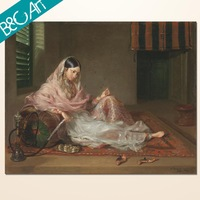 Egyptian girl smoking picture canvas on painting