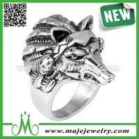 Steampunk ferocious wolf head mens biker wedding rings