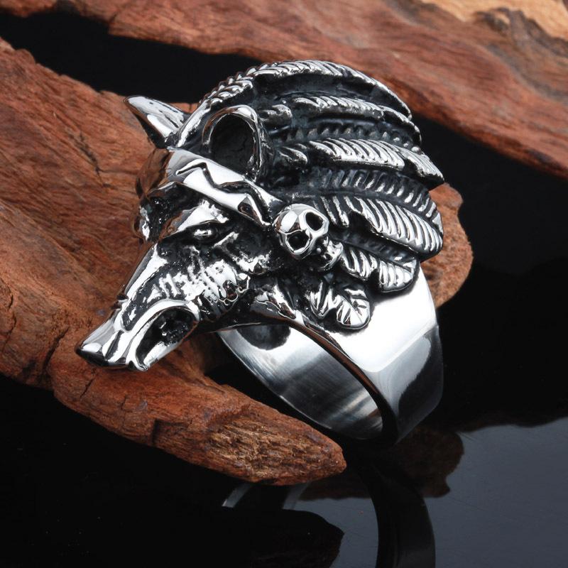 Steampunk feroz lobo head hombre del motorista de la boda anillos ...