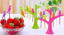 Colorful Birdie small fruit fork,Fruit Salad Forks,unique fork for party