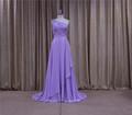 Direto da fábrica cintura império vestidos de baile azul plissado