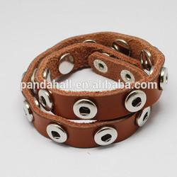 Interchangeable Snap Button Genuine Leather Wrap Bracelet Fit 4-5mm Knob Snap(AJEW-R024-09)