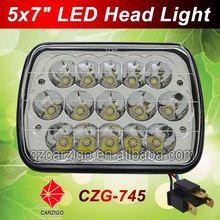 Top quality 2015 new headlight spot/flood beam optional rectangle 7 inch trailer head lite