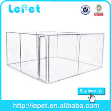 large outdoor chain link rolling large dog kennel outside