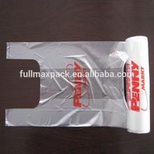 Shopping HDPE transparent printed t-shirt bag on roll